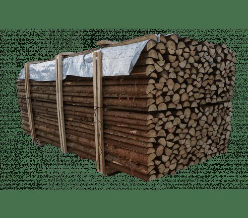 Flækket granrafter med bark - Ø6-9 cm x 220 cm.