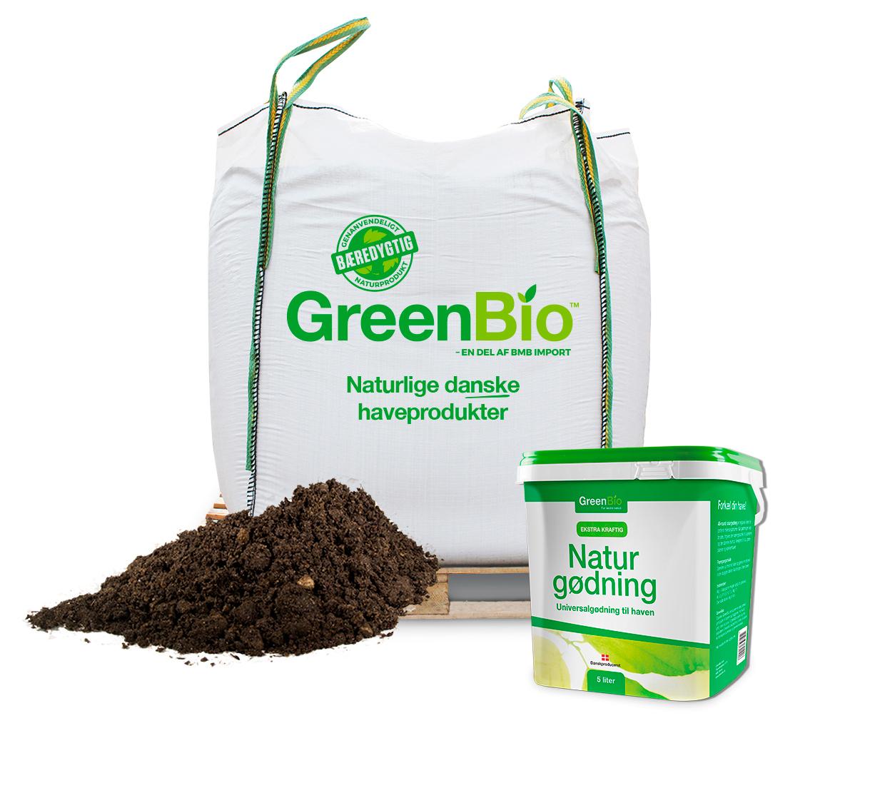 Image of   GreenBio Allétræsmuld og 5 liter Naturgødning - bigbag á 1000 liter
